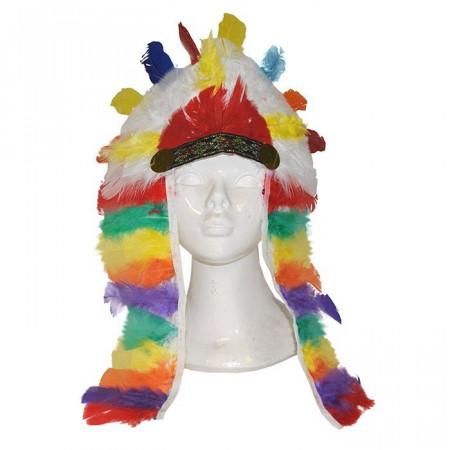 Copricapo Indiano con Penne Colorate 80305613