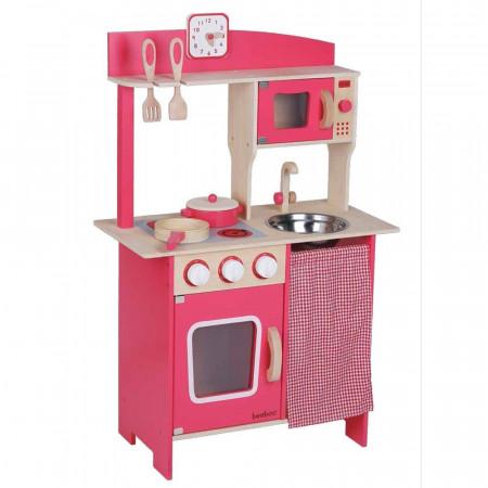 Cucina Giocattolo in Legno Rosa