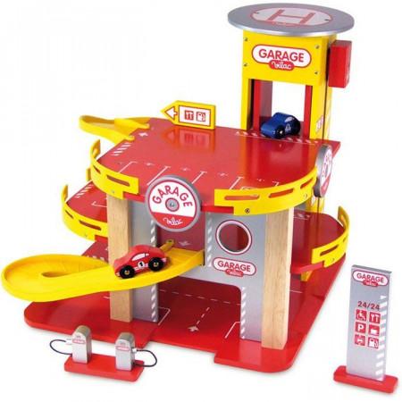 Garage giocattolo a tre piani di vilac un bel regalo per for Piani di garage aperti