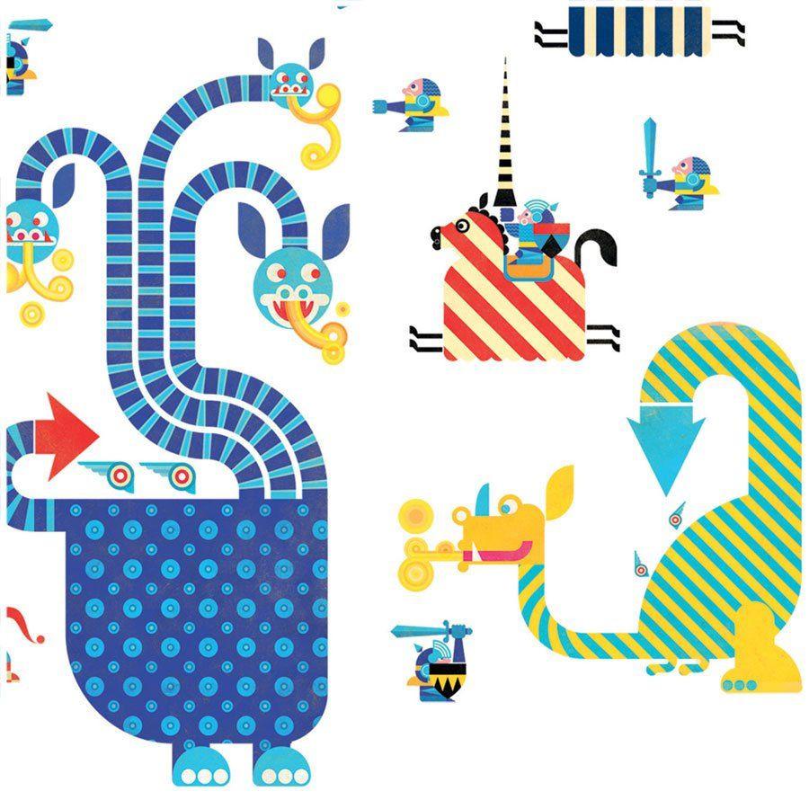 Adesivi da parete draghi di djeco un bel regalo per bambini for Mattonelle adesive da parete