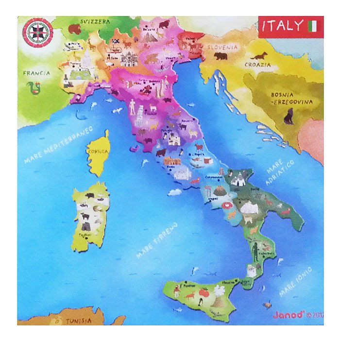 Cartina Italia Bambini.Cartina Magnetica Italia Di Janod Un Bel Regalo Per Bambini
