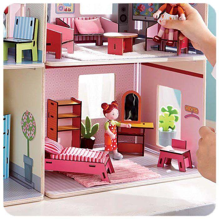 Casa delle bambole camera da letto di haba un bel regalo for 3 piani casa casa camera da letto