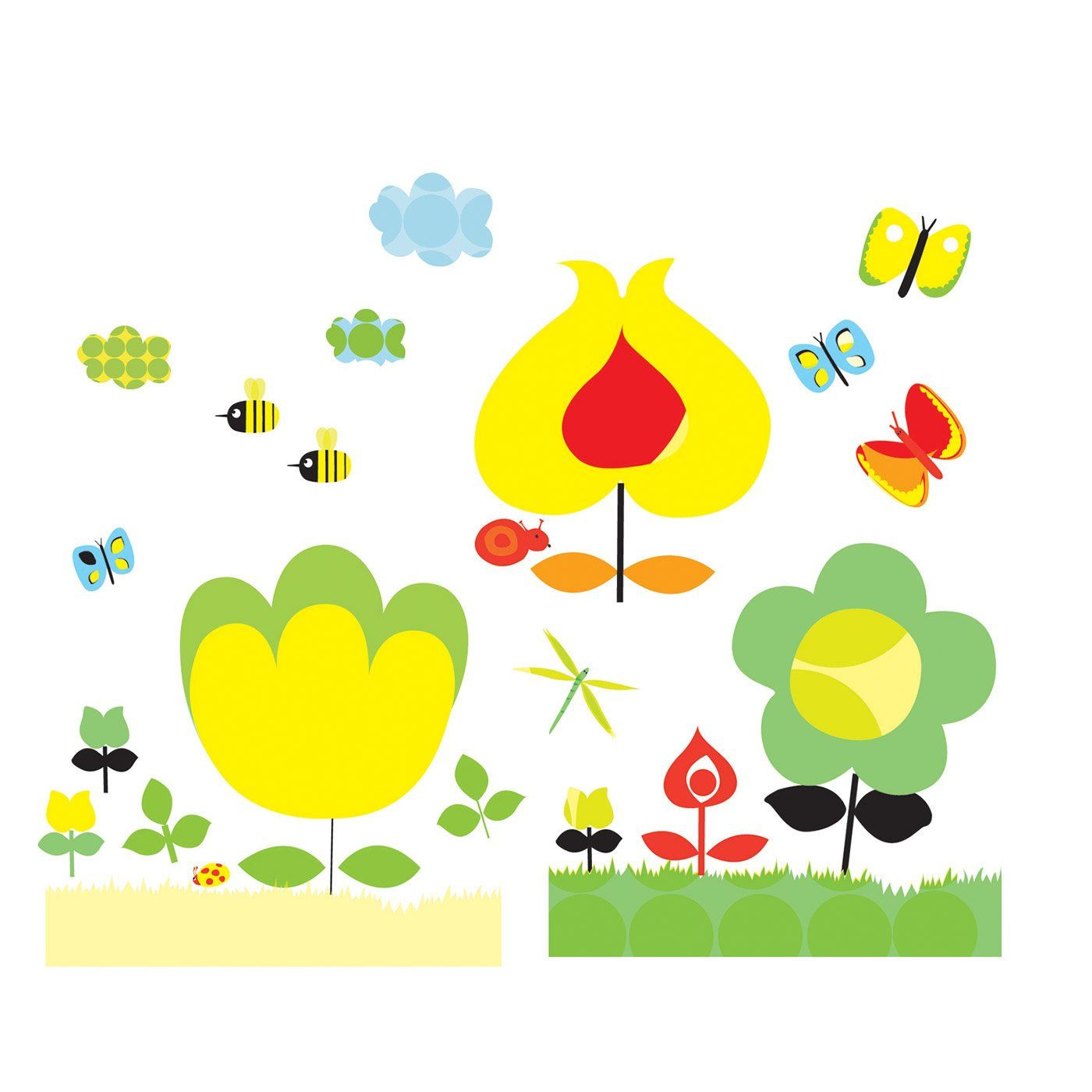 Adesivi da parete fiori di djeco un bel regalo per bambini for Mattonelle adesive da parete