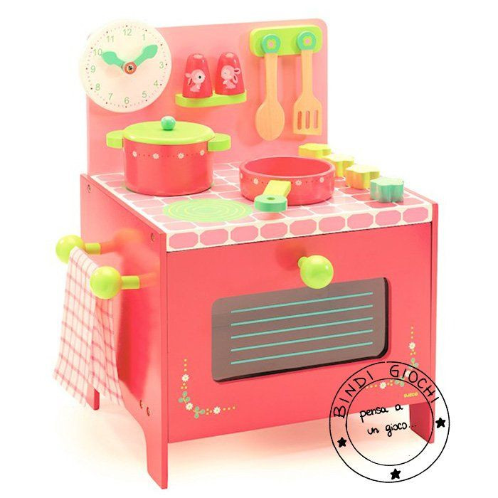 Cucina in legno bambini rose di djeco un bel regalo per for Cucina per bambini