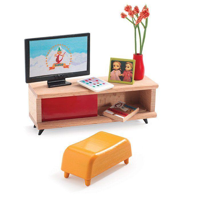 ... Soggiorno La Sala Soggiorno con TV Djeco 7827  Bambole e accessori