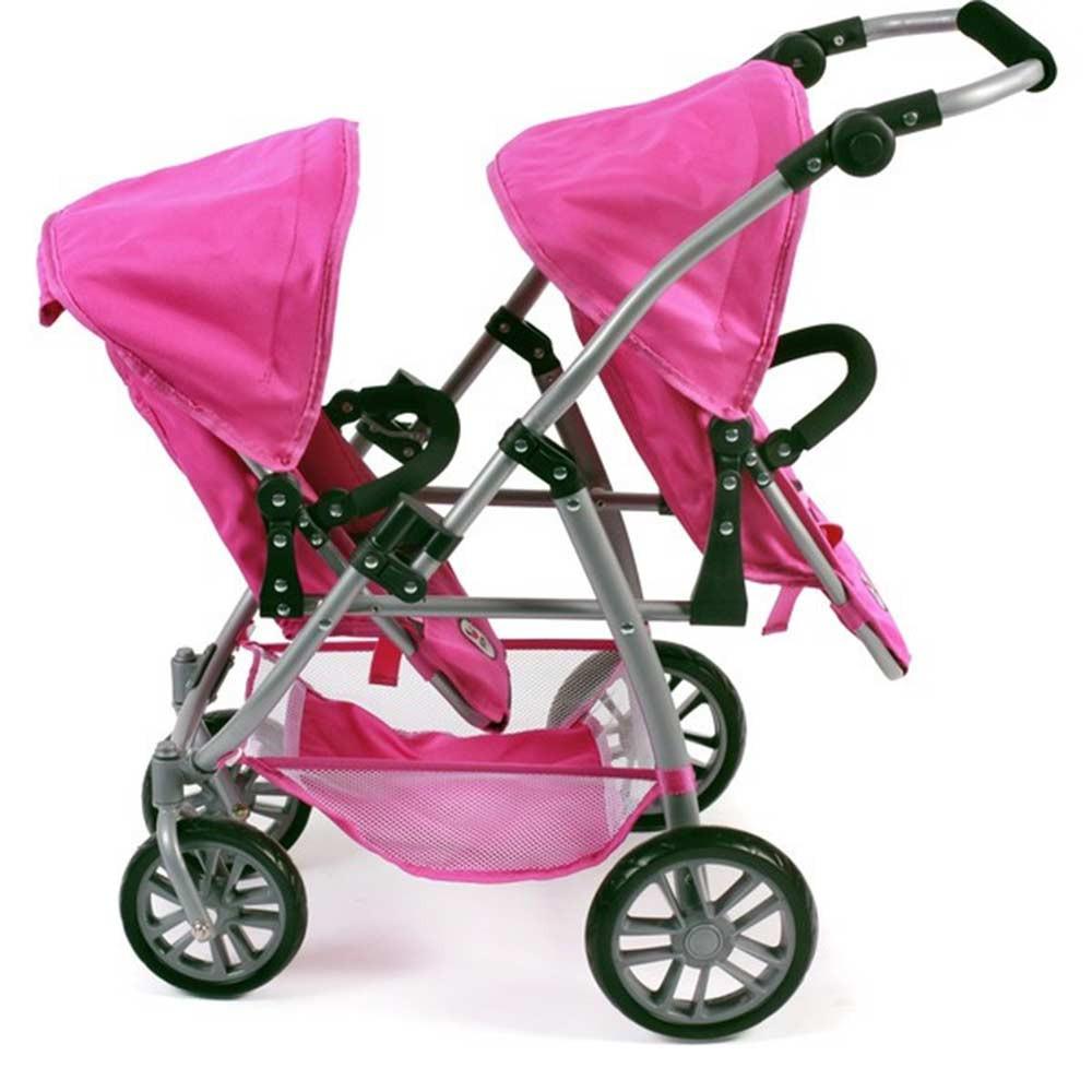 passeggino gemellare per bambole rosa di chic un bel regalo per bamb. Black Bedroom Furniture Sets. Home Design Ideas
