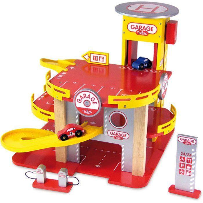 Garage giocattolo a tre piani di vilac un bel regalo per for Tre piani di garage per auto con soppalco