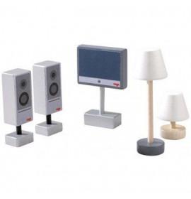 Accessori Casa delle Bambole Televisore e Lampade